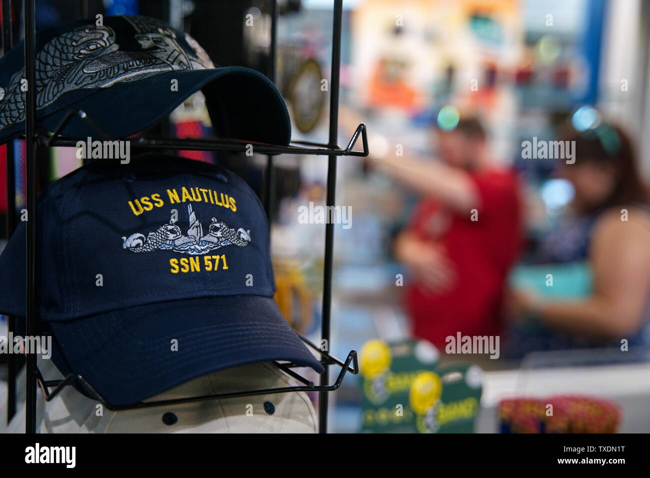 Submarine Force Museum, Groton CT USA, Jun 2019. The museum gift store has many souvenirs and memorabilia of an era of great defense accomplishments. - Stock Image