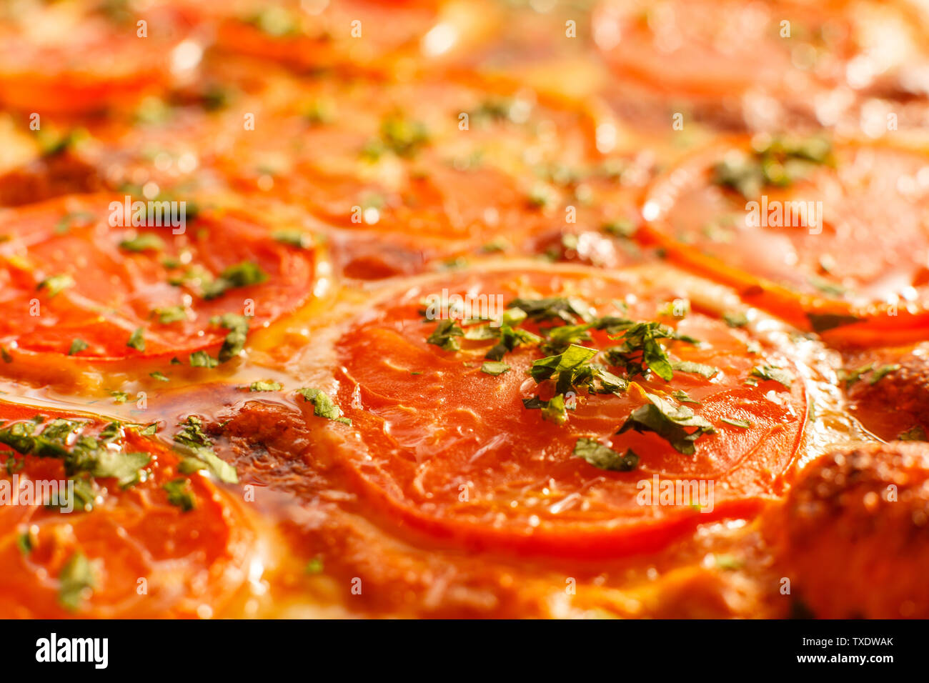 Close up Pizza Margarita. Delicious hot food sliced and served on white platter. Menu photo, Italian fast food. - Stock Image