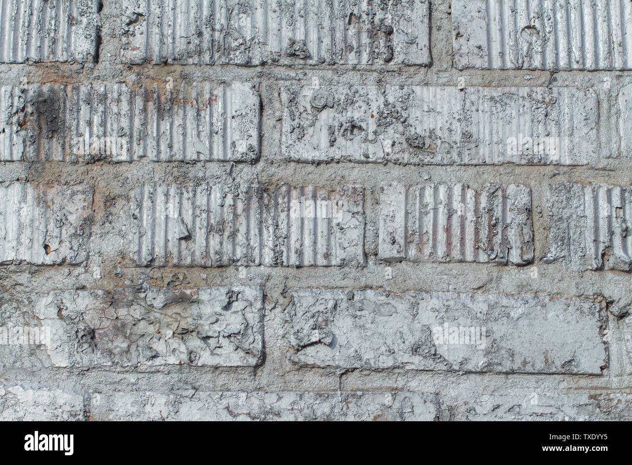 Background Of Old Brick Wall Texture Painted Silver Paint Stock