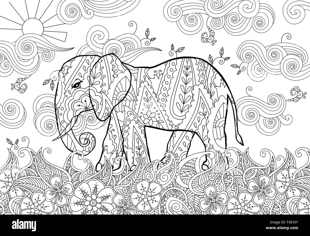Coloring page with doodle style elephant on the meadow in ...