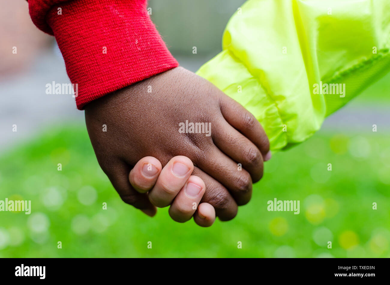 Two children of different races holding hands together. Photo shows friendship, equality and diversity. One Caucasian the other is dark (black). - Stock Image