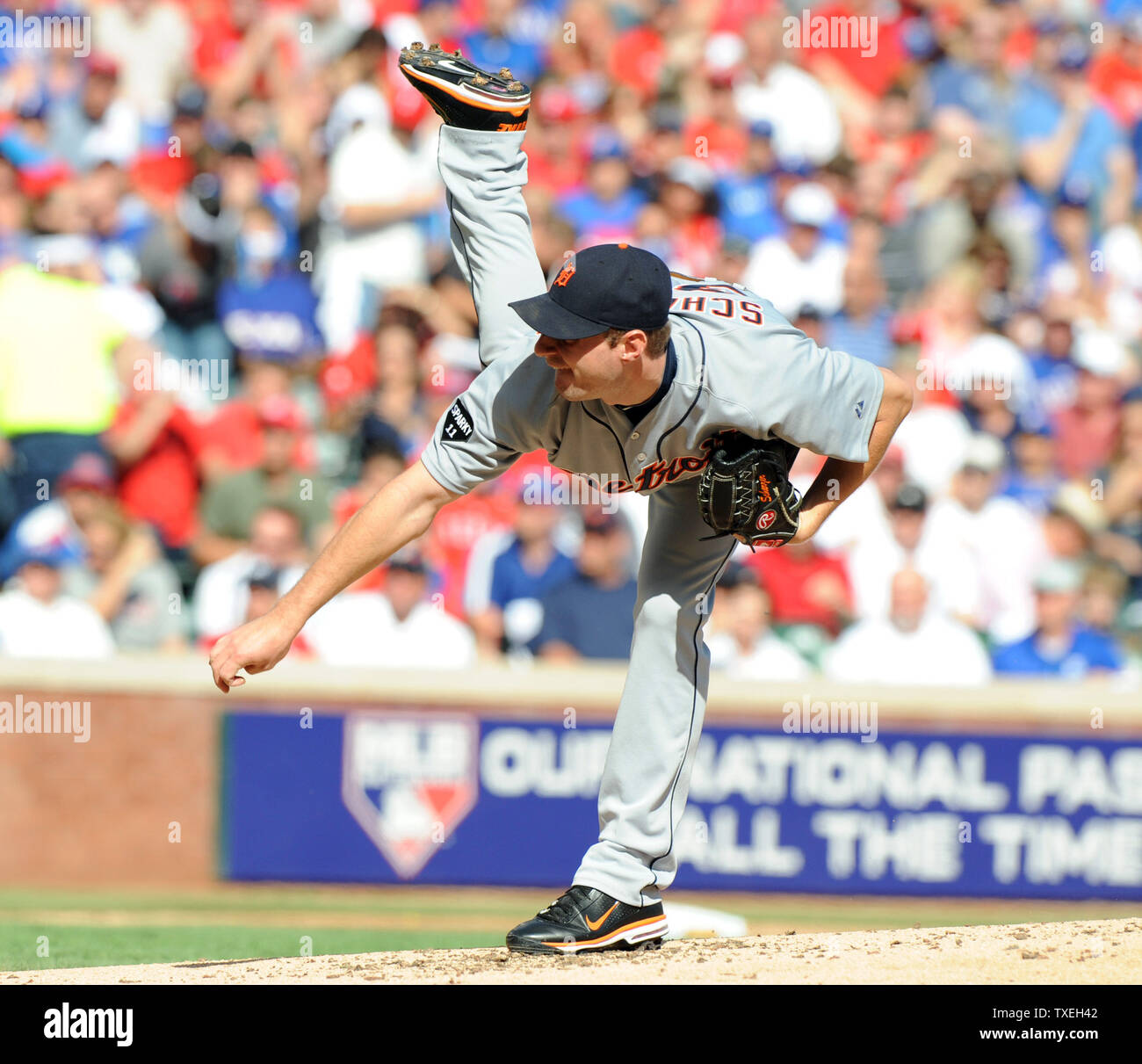 Detroit Tigers starting pitcher Max Scherzer throws against the Texas Rangers in game two of the ALCS at Rangers Ballpark in Arlington on October 10, 2011 in Arlington, Texas.   The Rangers lead the best of seven series 1-0.   UPI/Ian Halperin Stock Photo