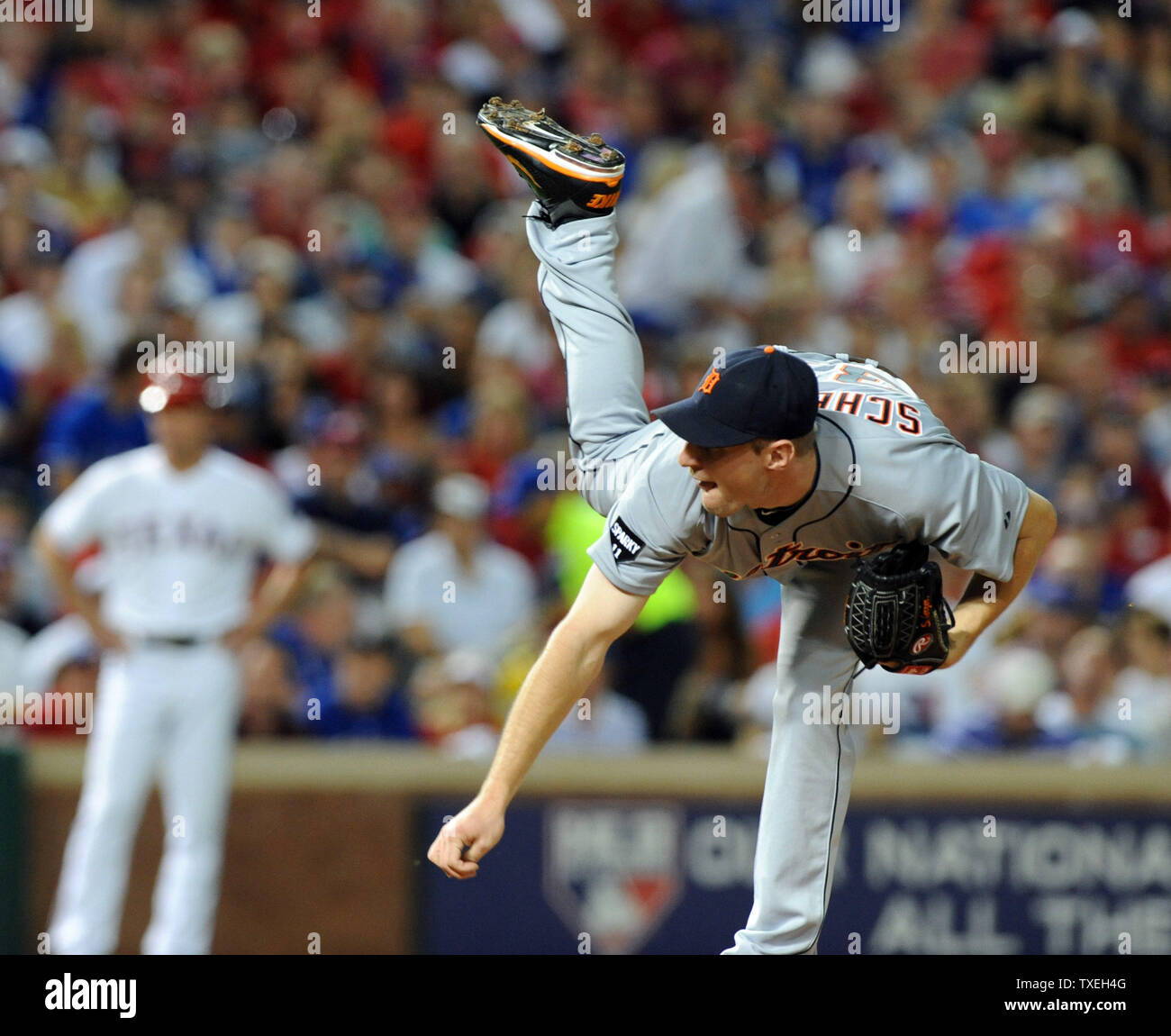 Detroit Tigers starting pitcher Max Scherzer throws against the Texas Rangers in game six of the ALCS at Rangers Ballpark in Arlington on October 15, 2011 in Arlington, Texas.   The Rangers lead the best of seven series 3-2.    UPI/Ian Halperin Stock Photo