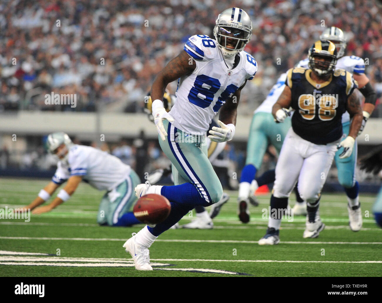 Dallas Cowboys Dez Bryant Drops A Pass From Tony Romo During