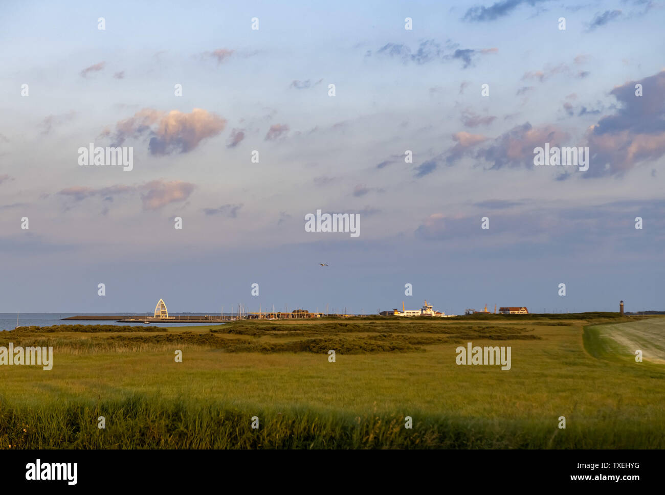 View on the harbor of Juist an East Frisian island in Germany in summer. Stock Photo