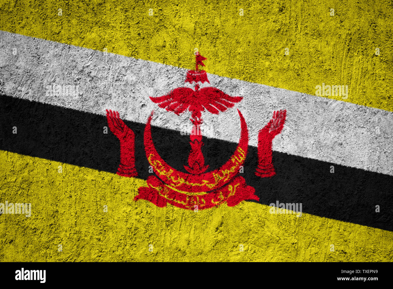 Brunei flag painted on the cracked grunge concrete wall - Stock Image