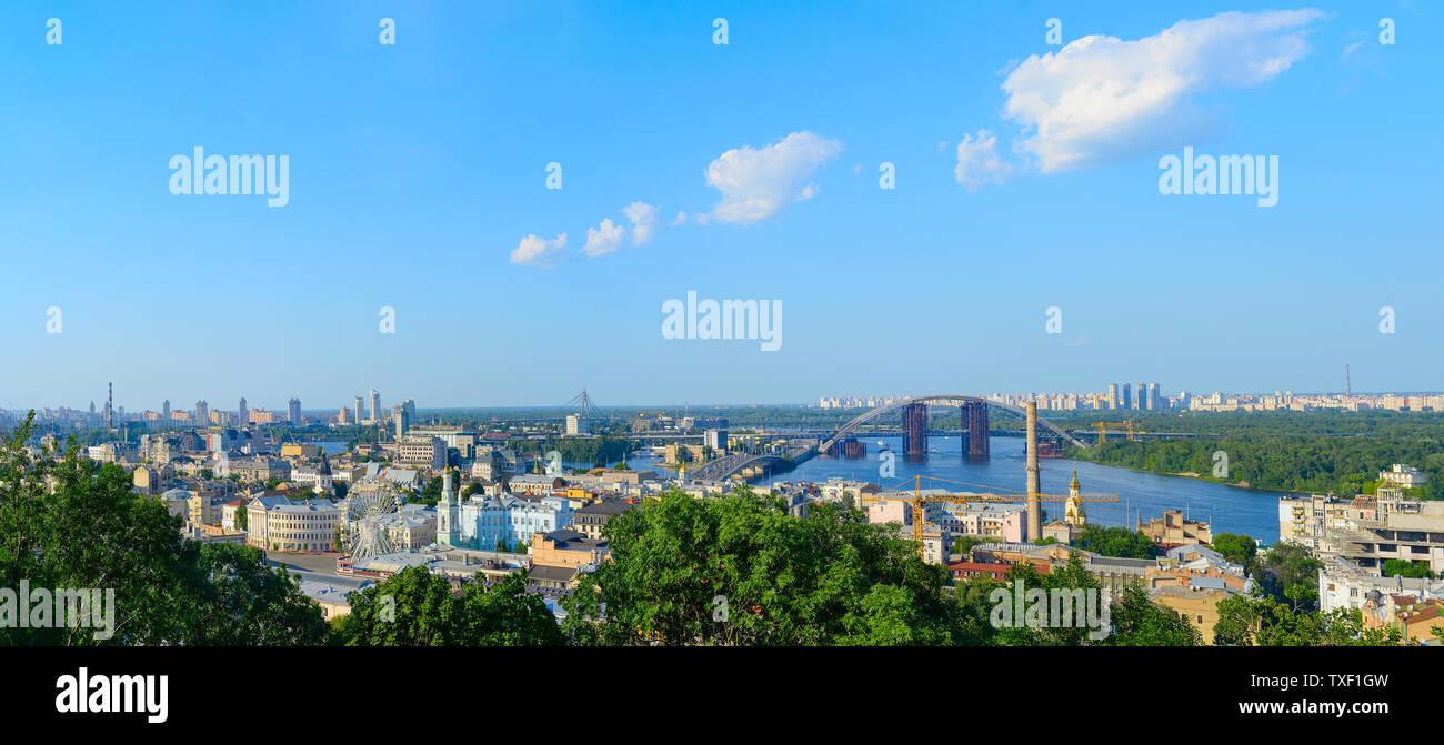 Panorama of Kiev. Podil district, Dnipro river, new bridge Stock Photo