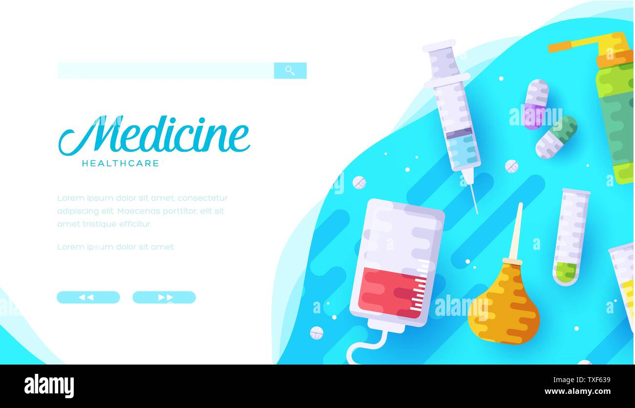 Healthcare And Medicine Vector Landing Page Template Medical Instruments Equipment Flat Illustration Drugstore Cartoon Web Banner Layout Design Hospital Clinic Pharmacy Poster Concept Stock Vector Image Art Alamy