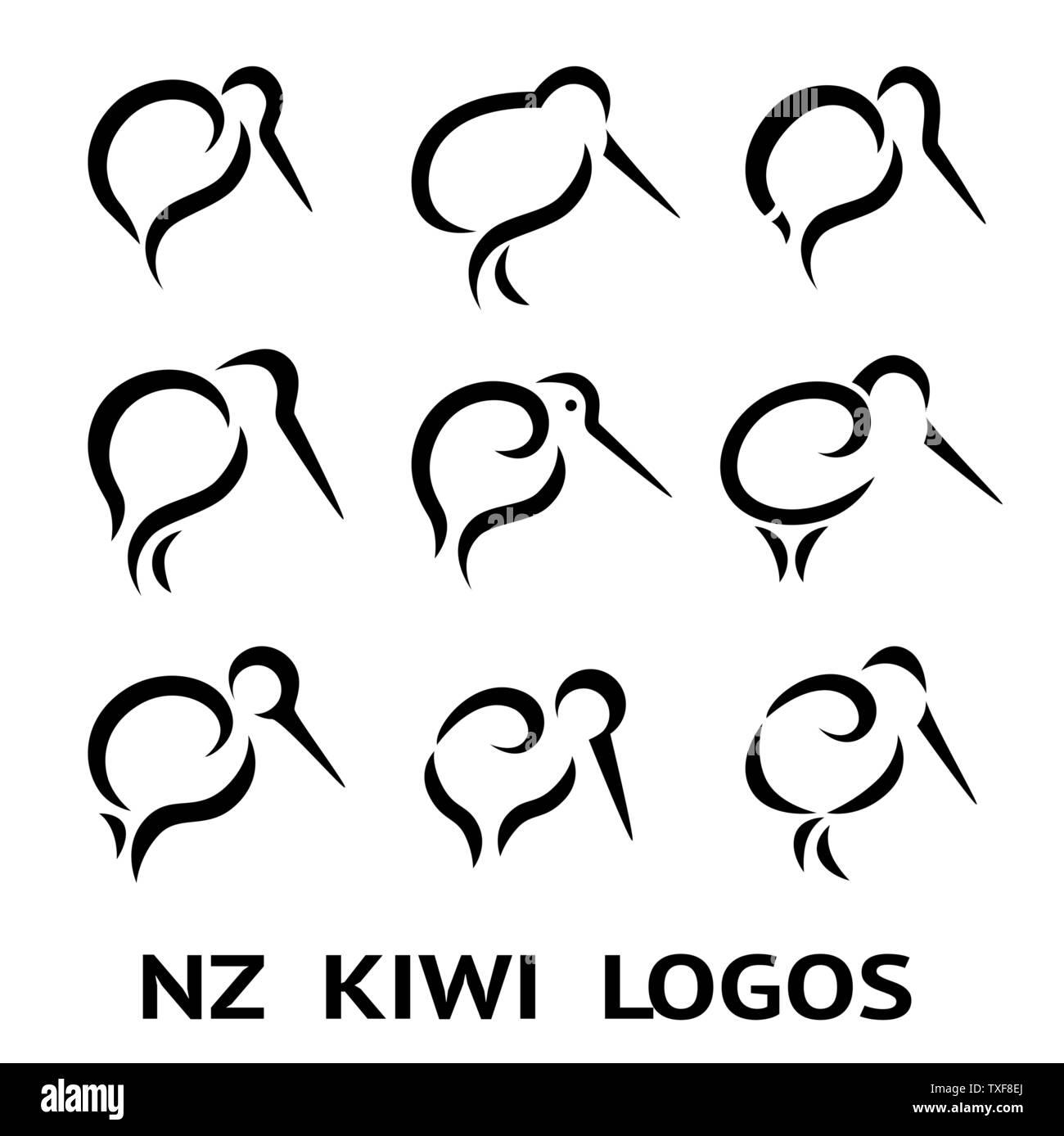 New Zealand Kiwi Bird Logo or tattoo with Maori Style Koru icon Design grouped - Stock Image