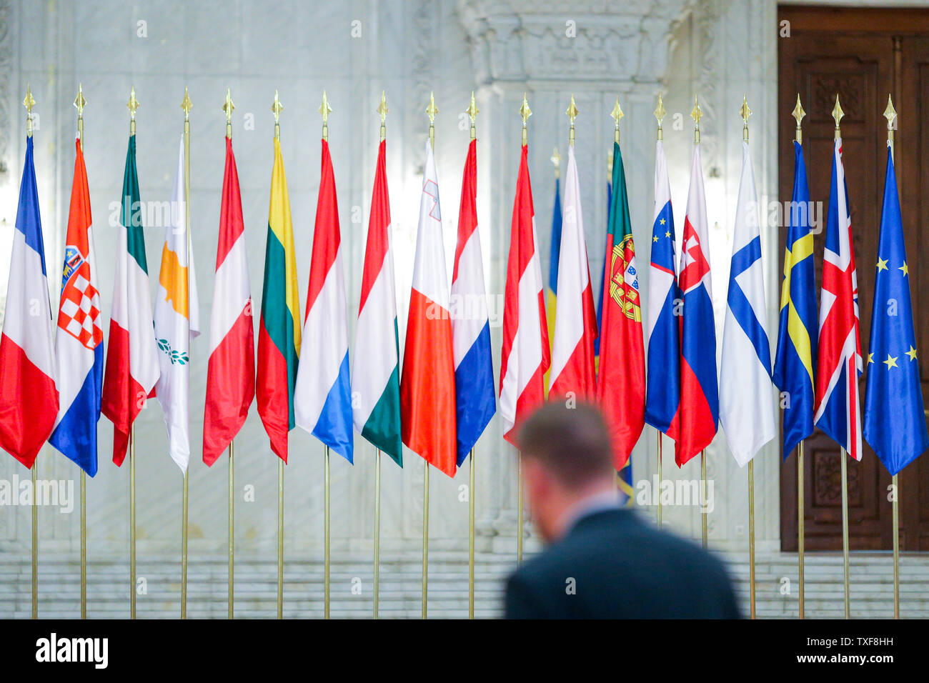 European Union member states flags one next to another - Stock Image