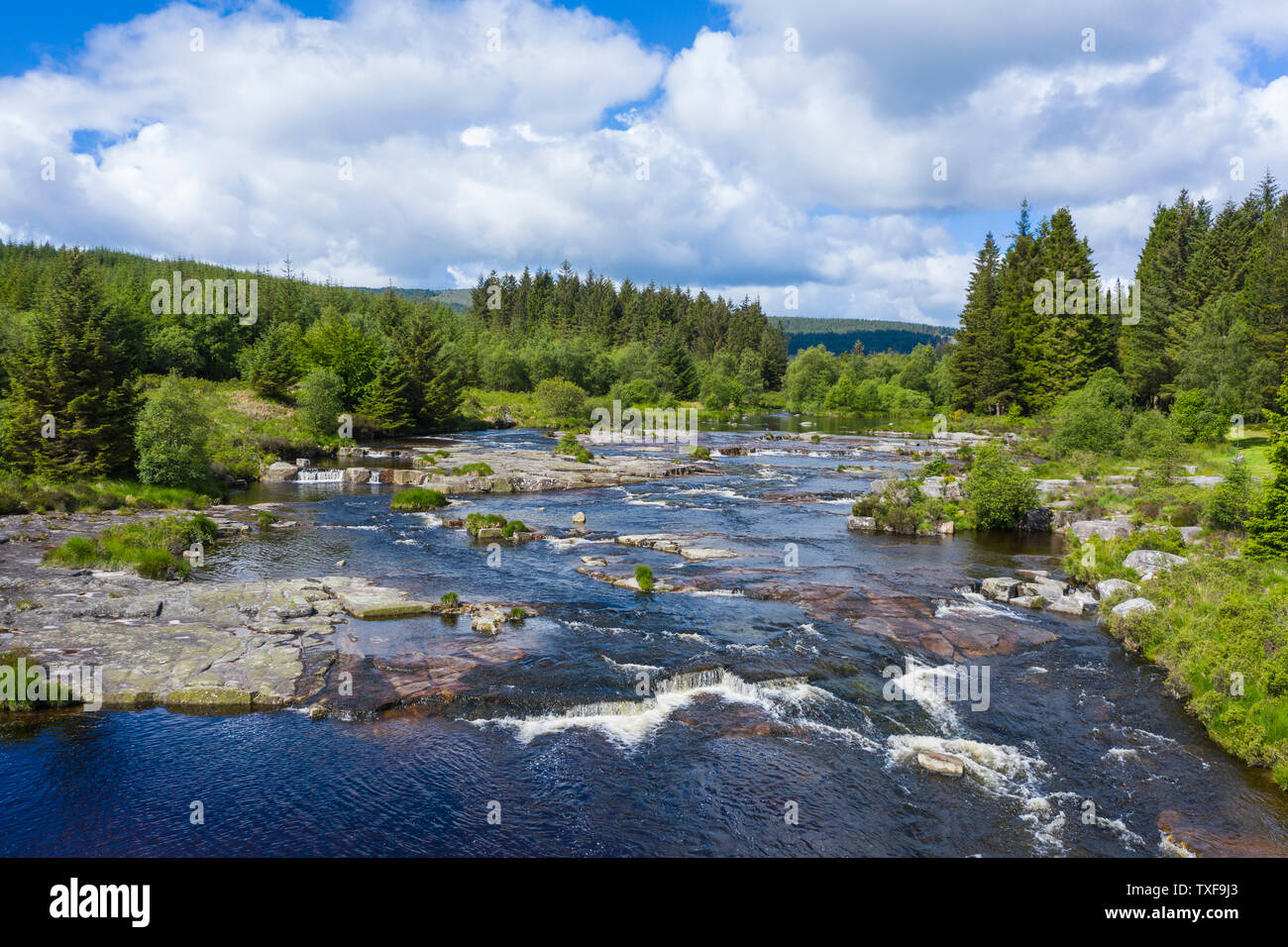 Aerial view of The Otter Pool, Black Water of Dee, river Dee, Galloway Forest, Dumfries & Galloway, Scotland Stock Photo