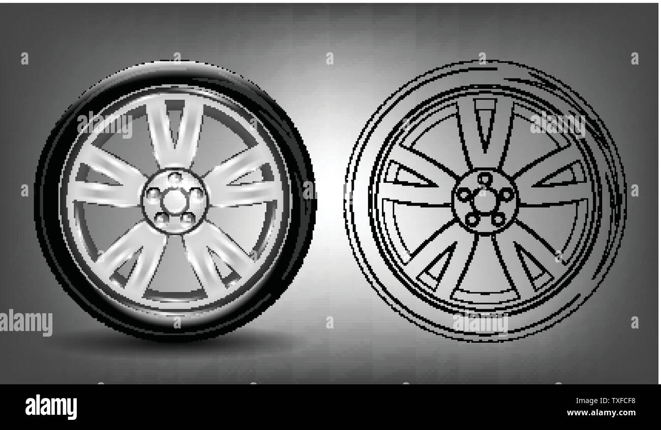 Detailed illustration of car wheel with a tire. - Stock Vector