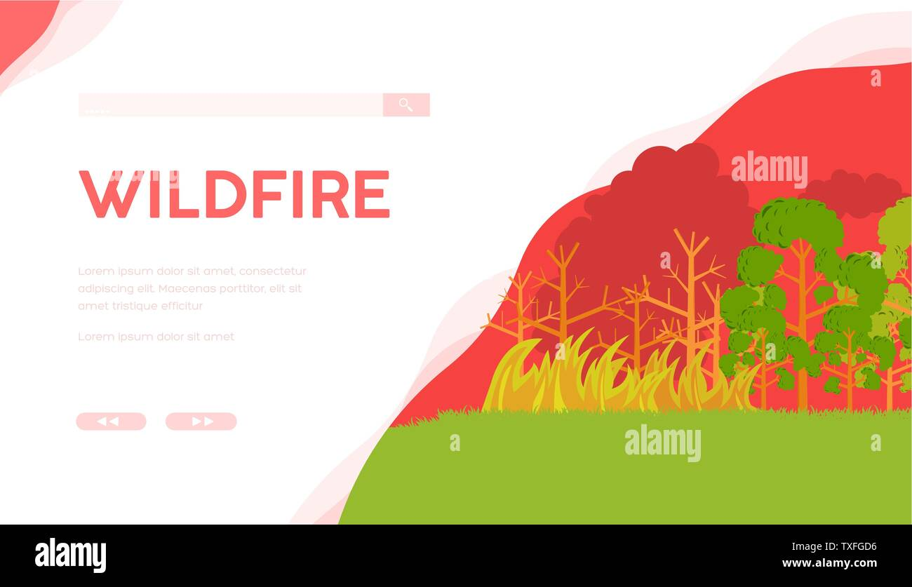 Wildfire vector landing page template  Burning forest flat