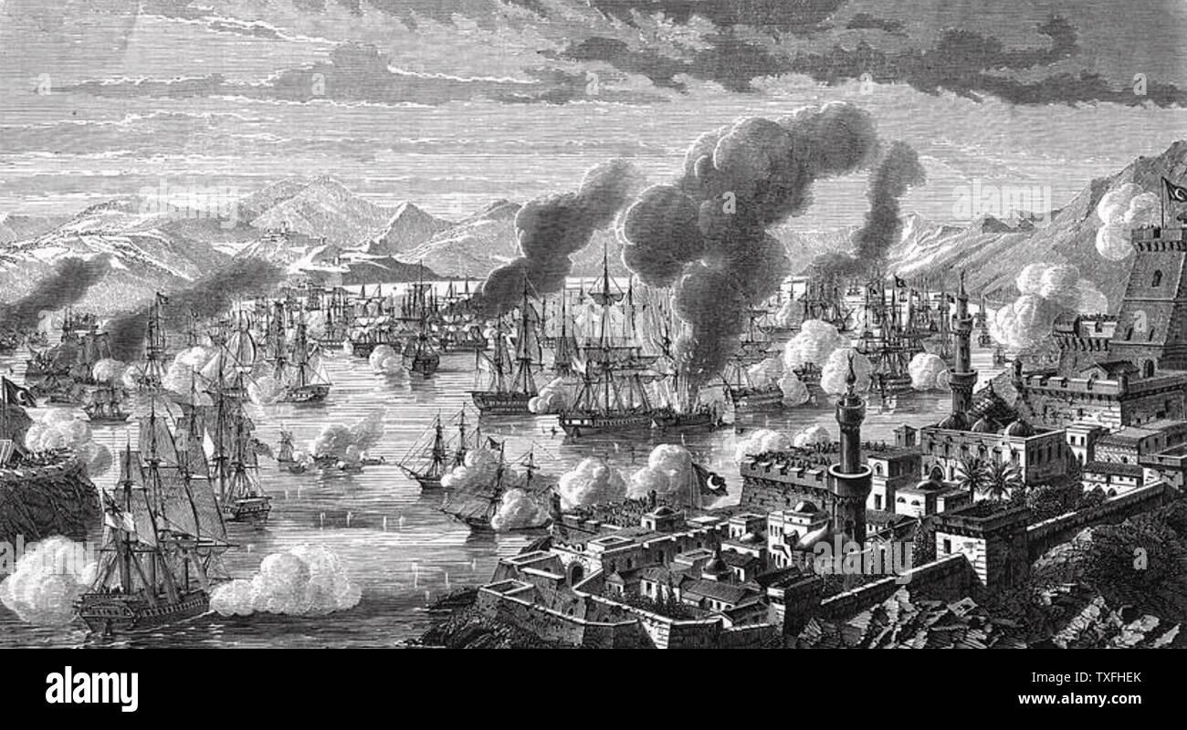 BATTLE OF NAVARINO 20 October 1827 - Stock Image