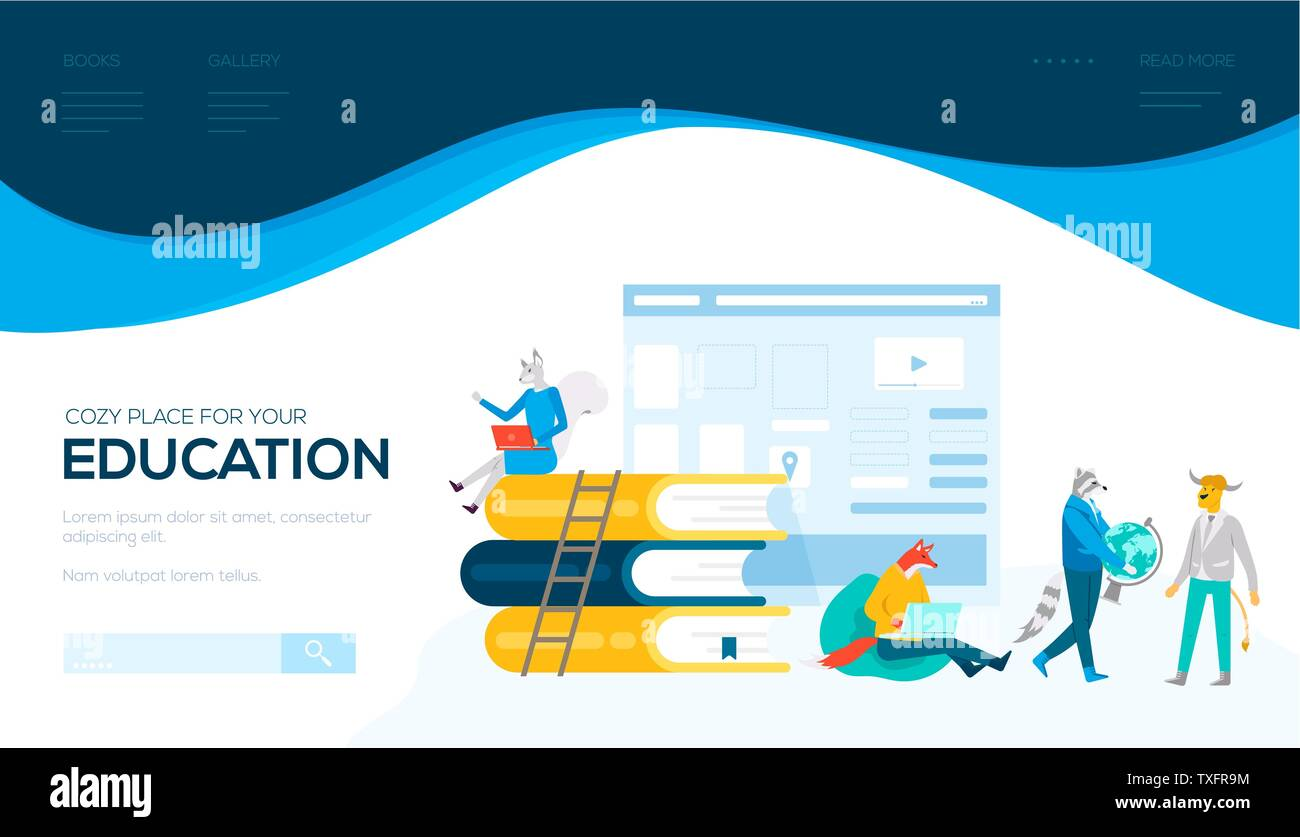 Online Education Vector Landing Page Template Media Library Website Homepage Design Students Preparing For Exams Cartoon Illustration Distance Learning E Reader Cartoon Web Banner Layout Stock Vector Image Art Alamy
