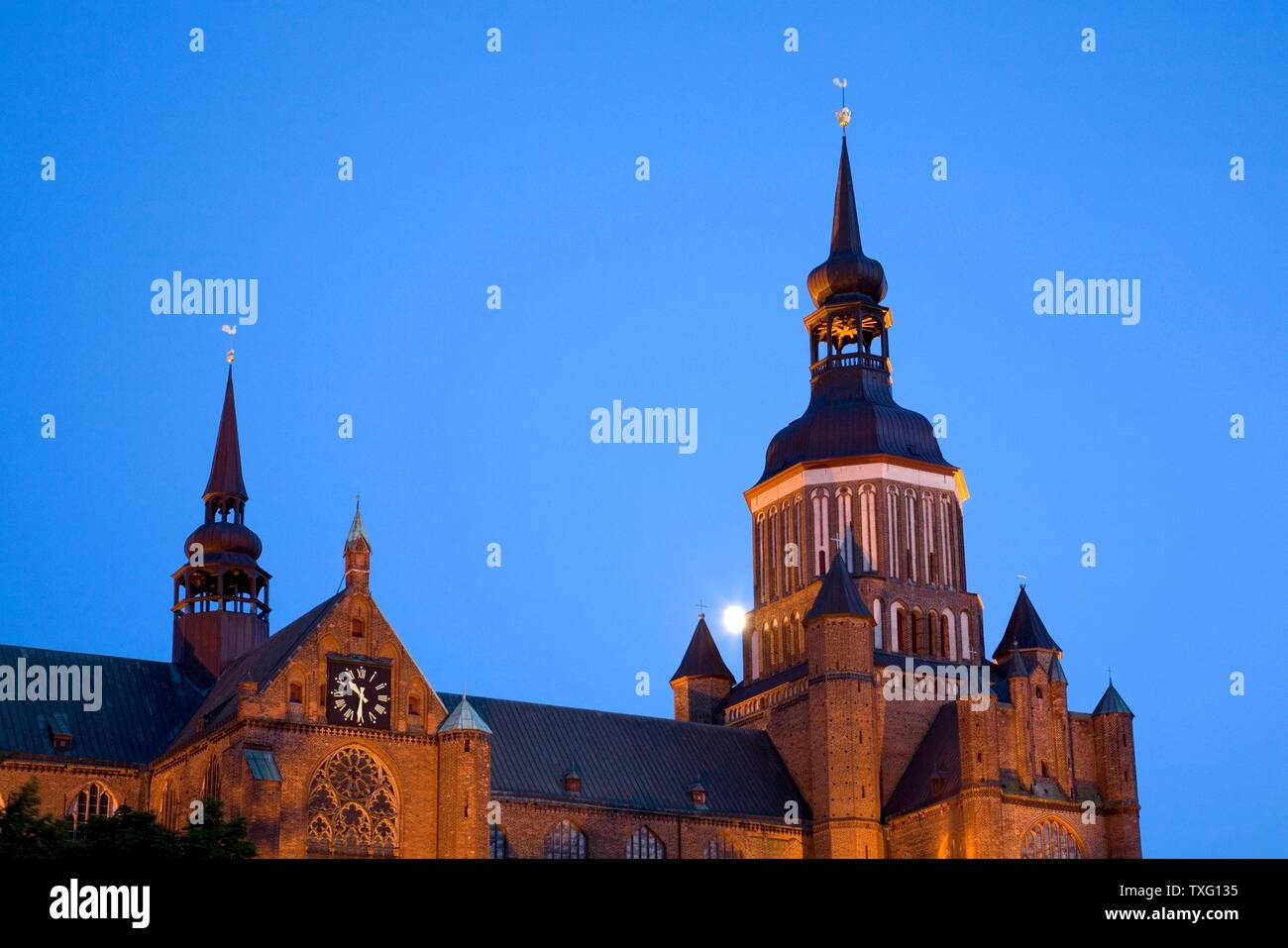 geography / travel, Germany, Mecklenburg-West Pomerania, moon behind the St. Mary's Church at new mark, Additional-Rights-Clearance-Info-Not-Available Stock Photo