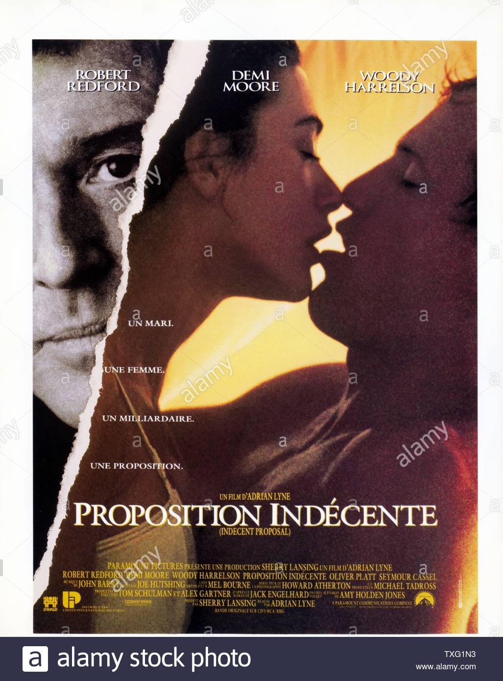 Indecent Proposal  Year: 1993 USA Director: Adrian Lyne Poster (Fr) - Stock Image