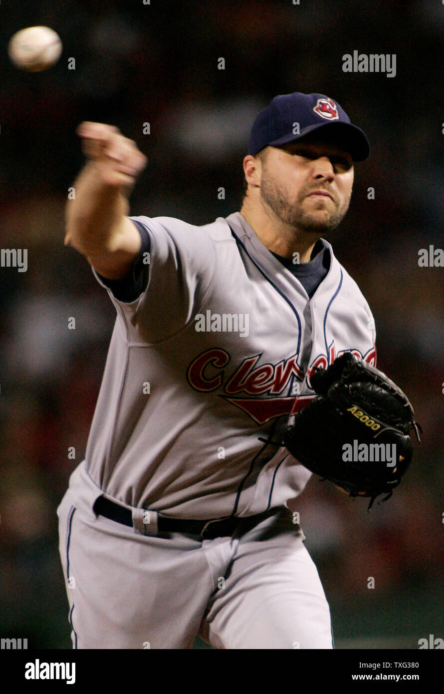 Cleveland Indians starting pitcher Jake Westbrook throws a pitch in the first inning of game seven of the American League Championship Series against the Boston Red Sox at Fenway Park in Boston on October 20, 2007. (UPI Photo/Matthew Healey) Stock Photo