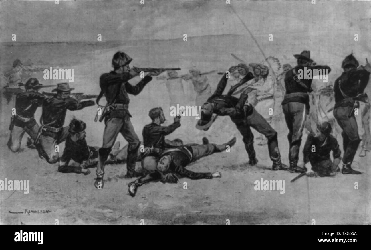 Opening of the Massacre at Wounded Knee, South Dakota, 29 December 1890. US Seventh Cavalry in battle with Lakota Native American. Stock Photo