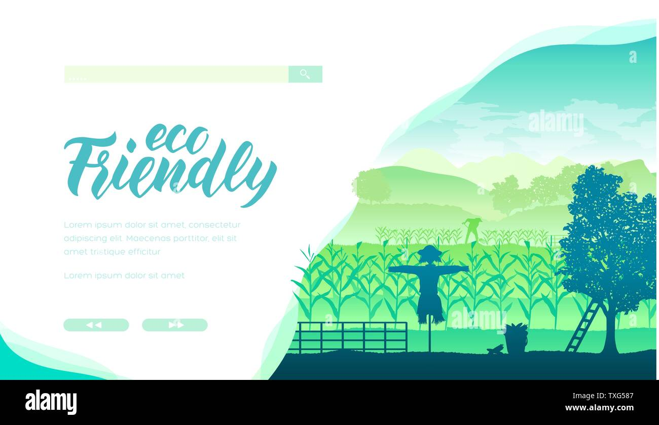 Ecology Friendly Farm Vector Landing Page Template Organic