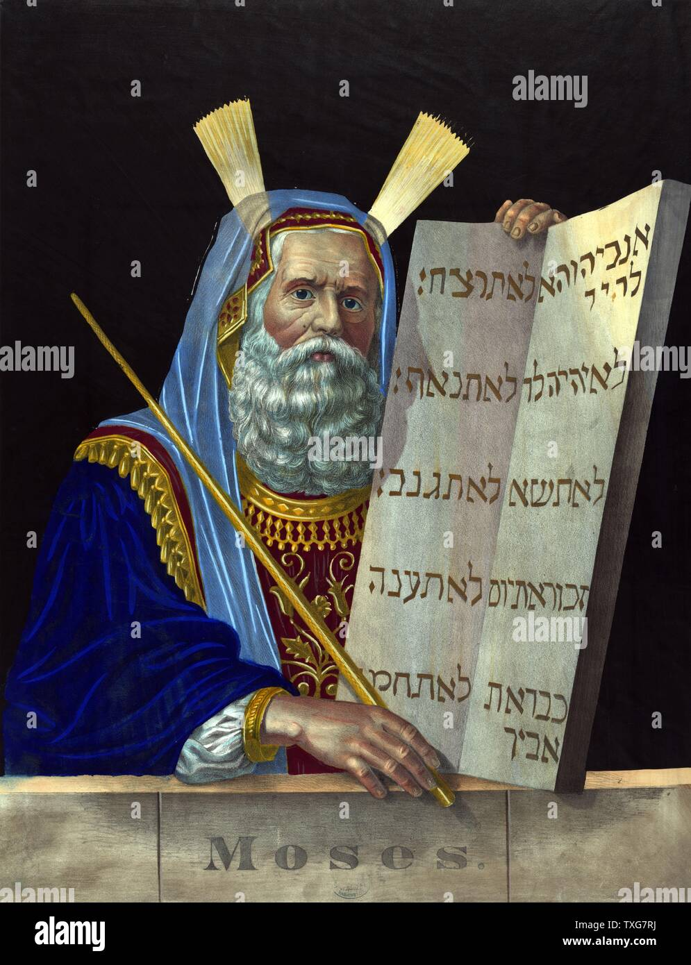 Moses, religious leader and principal prophet of  Israelite  Moses is holding the tablets inscribed with the Ten Commandments given him by God on Mount Sinai Lithograph - Stock Image