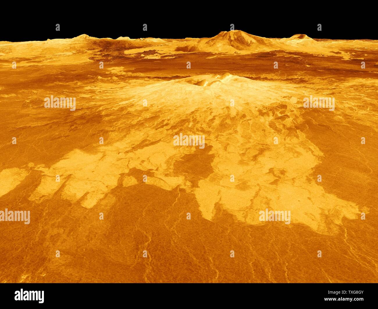 Computer-generated view of surface of the planet Venus dominated by the volcano Sapas Mons.  Lava flows extend for hundreds of kilometres across the fractured plains shown in the foreground Credit NASA - Stock Image