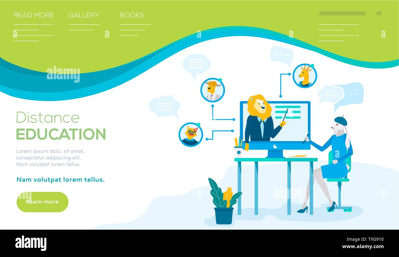 Distance Education Vector Landing Page Template Webinar Flat Web Banner With Text Space Business Coaching Training Online Course University E Learning Website Metaphor Of Teacher As Lion Stock Vector Image Art