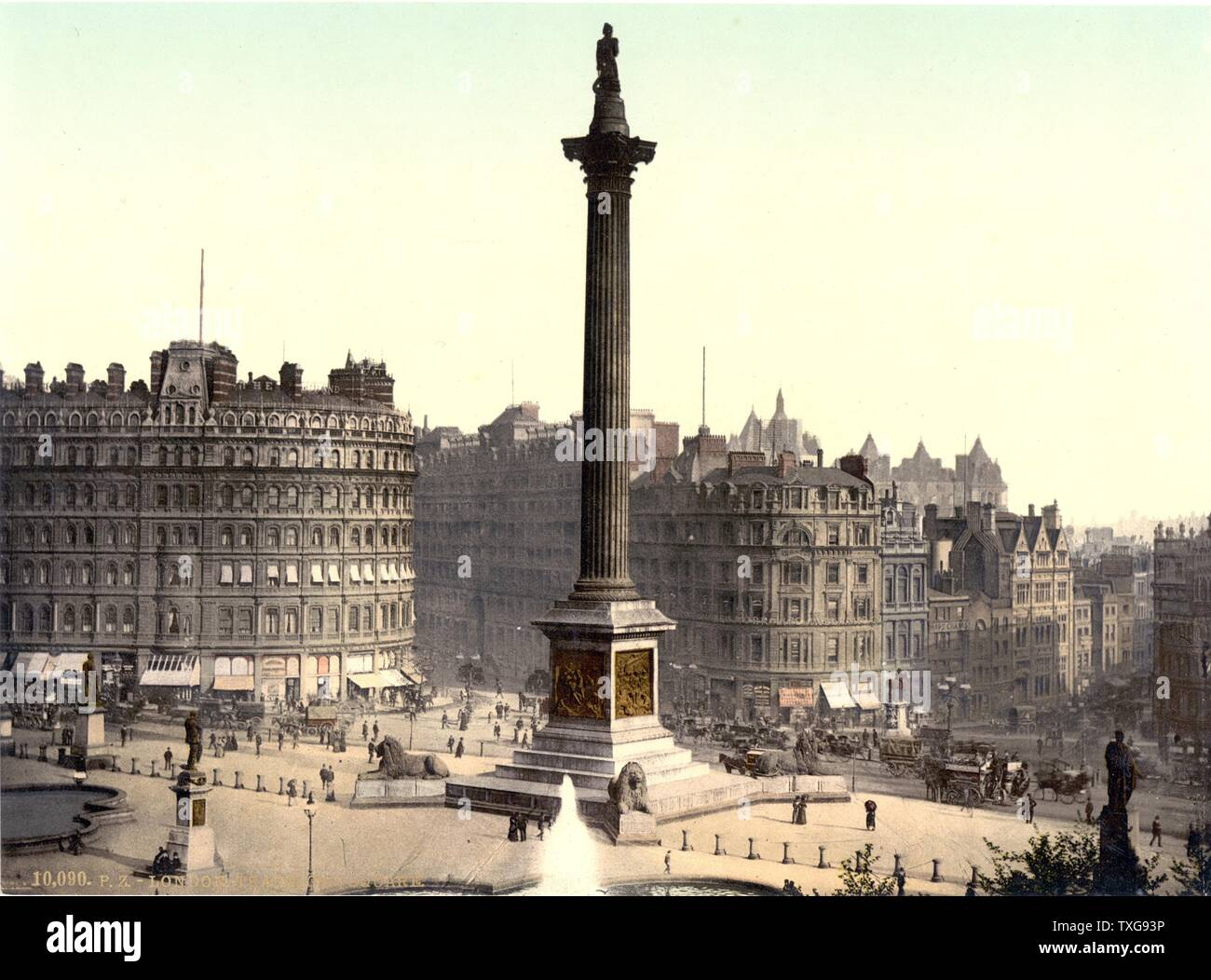 Trafalgar Square viewed from the National Gallery, LondoN Nelson's  Column in the centre with Edwin Landseer's lions guarding the plinth - Stock Image