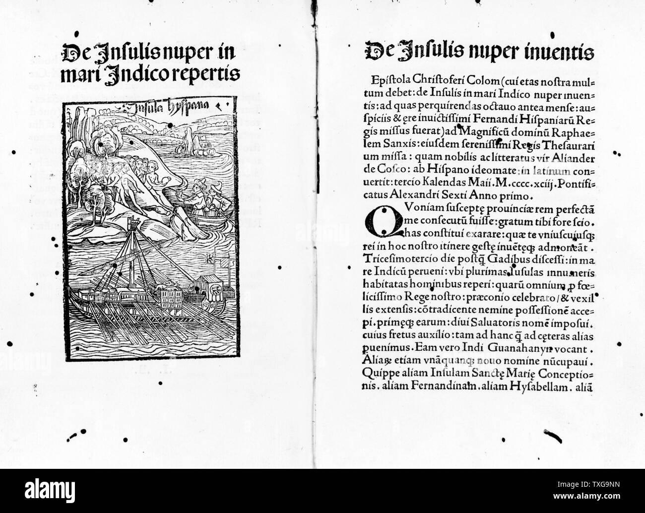 Carlo Verardi  De Insulis nuper in Mari Indico repertis Woodcut and letterpress - Stock Image