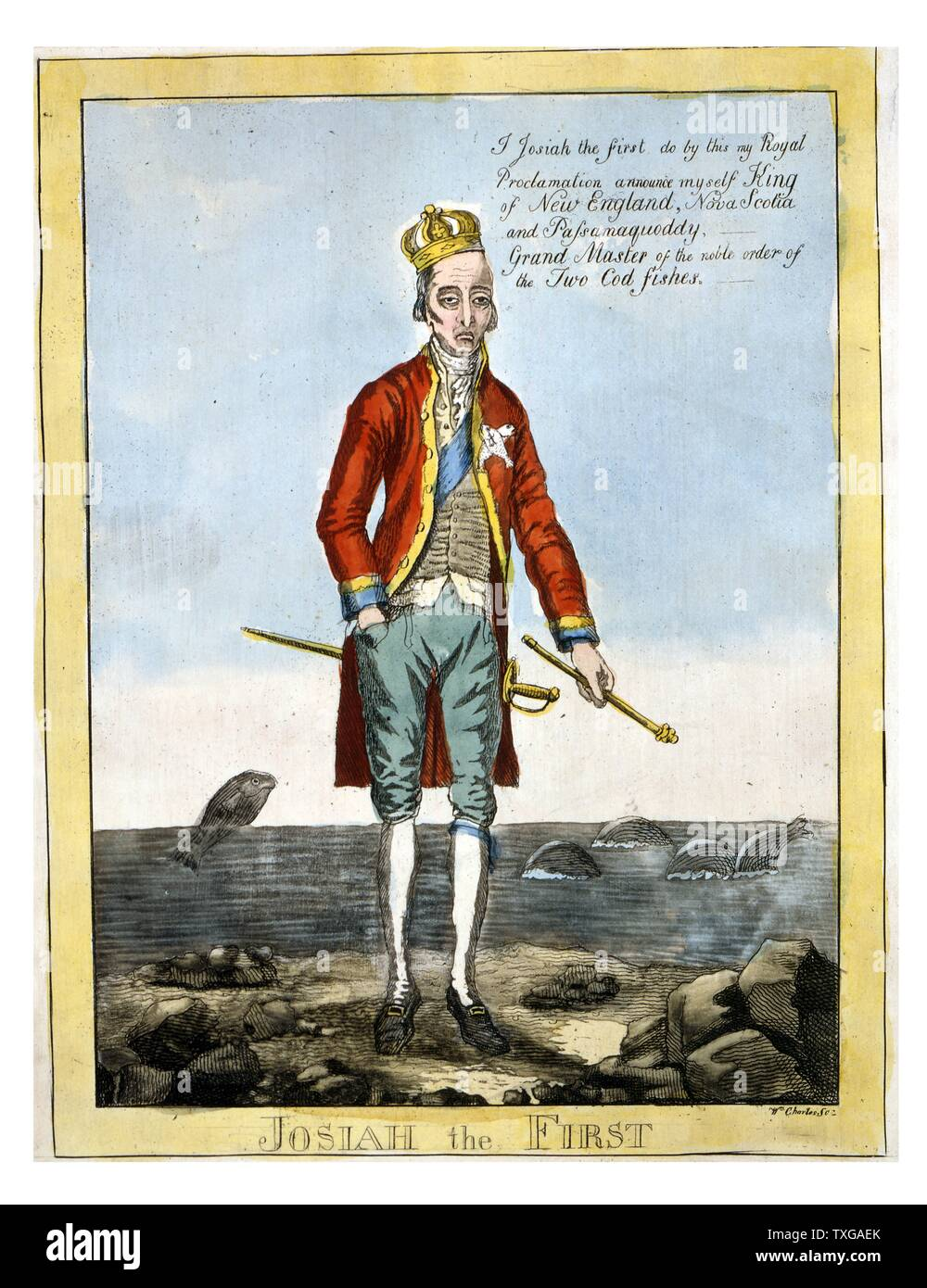 Caricature of wealthy American politician and civic reformer Josiah Quincy, an outspoken apologist for Great Britain and an opponent of the War of 1812. Quincy holds a sceptre in his left hand, and says, I Josiah the first do by this my Royal Proclamation announce myself King of New England, Nova Scotia and Passamaquoddy, -- Grand Master of the noble order of the Two Cod Fishes. - Stock Image