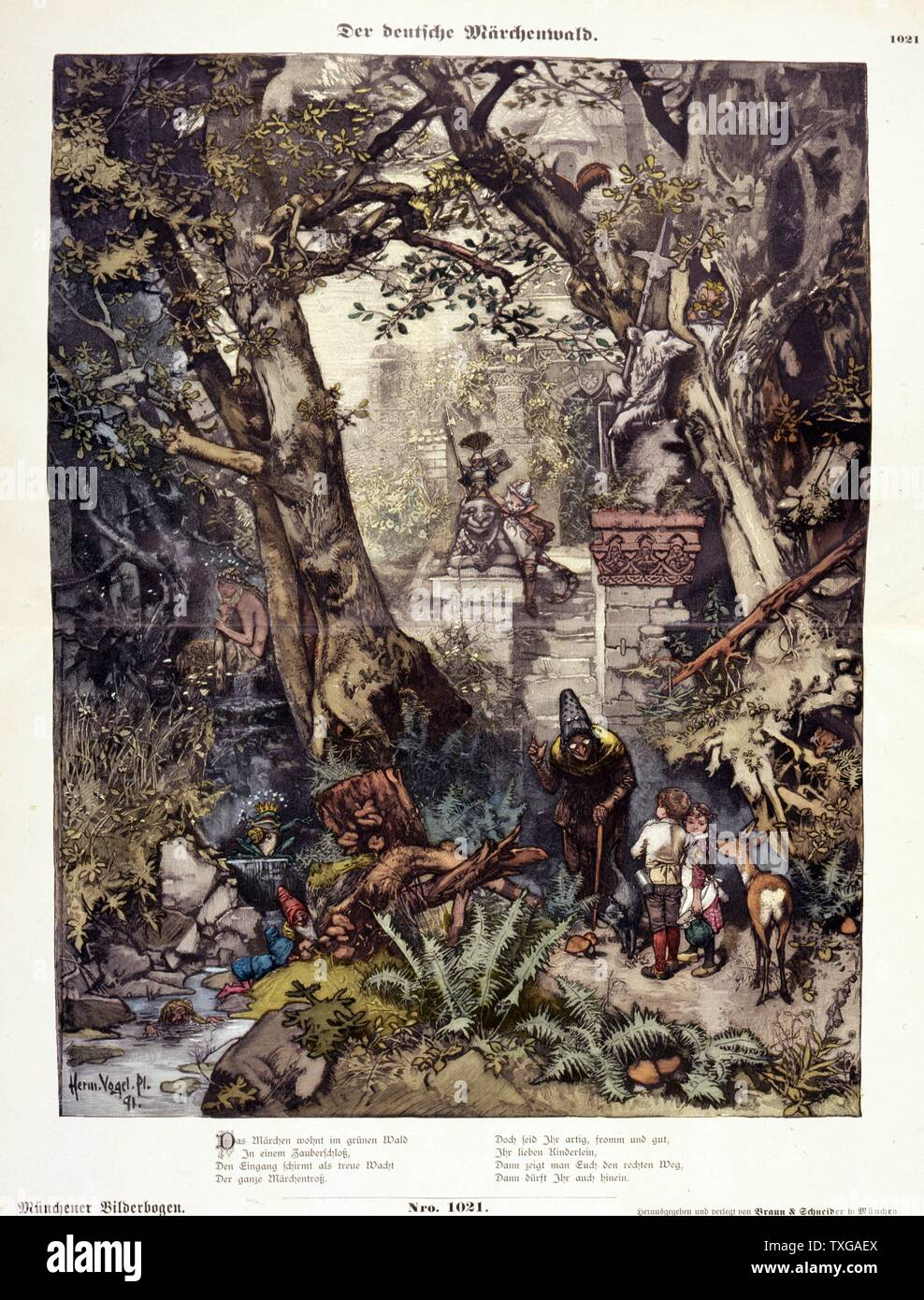 Illustration shows characters from German fairy tales, including Hansel and Gretel, Snow White and the Seven Dwarfs, and Puss in Boots, in a forest. By Hermann Vogel. - Stock Image
