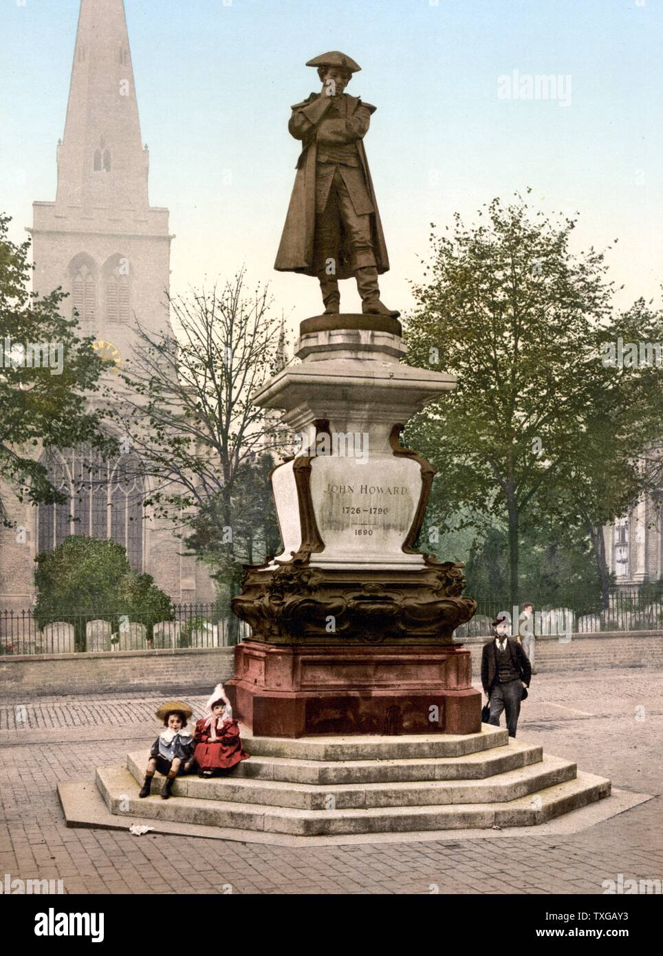 Statue of philanthropist John Howard (1726-1790) who was also a prison reformer. The statue is located in Bedford, England and was made by sculptor Sir Alfred Gilbert (1854-1934). 1890 - Stock Image