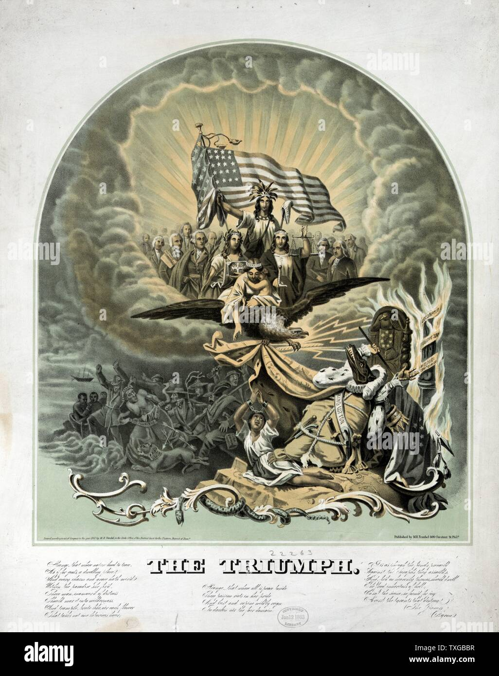 American Civil War allegory: Triumph by Morris Traubel, 1820-1897.Published c1861: A large, elaborate allegory predicting the triumph of the Union over the dark forces of the Confederacy and King Cotton. A published key accompanying the print describes the secession of the South in heavily moralistic terms, as the workings of an insidious Hydra of human discord, spawner of treachery and rebellion - Stock Image