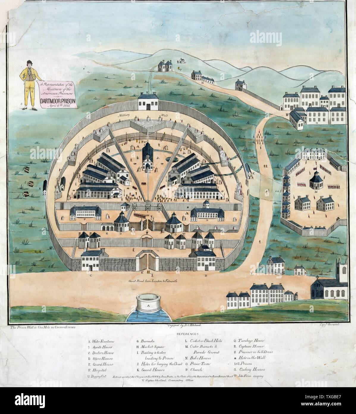 A representation of the massacre of American prisoners in Dartmoor Prison, April 6, 1815. Print shows Dartmoor Prison in Devon, England, where American prisoners of war captured by British forces, especially at sea, were confined, even after the Treaty of Ghent was signed in December 1814. Angered at being left behind, prisoners burned U.S. agent Reuben G. Beasley in effigy, which led to a confrontation with prison guards and a reduction of rations. Fearful of insubordination, guards shot the prisoners, killing 7 and wounding 31. - Stock Image