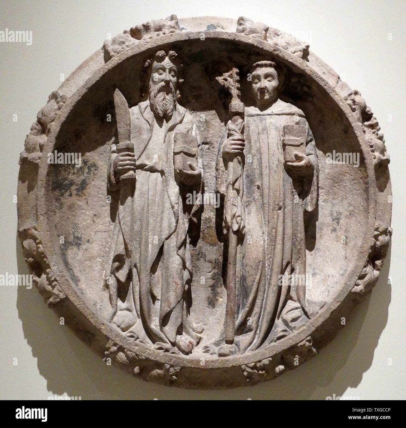 Montjuïc stone carving of Saint Bartholomew and Saint Abbot. Attributed to George God (1363-1418). Dated 14th Century - Stock Image