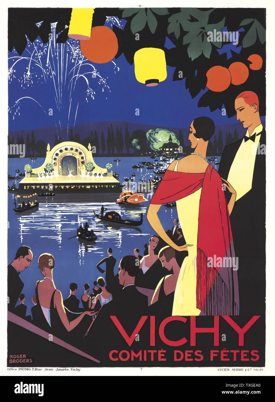 Giclee pint titled 'Vichy Comite des Fetes' by Roger Broders (1883-1953) French illustrator and artist. Dated 1926 - Stock Image