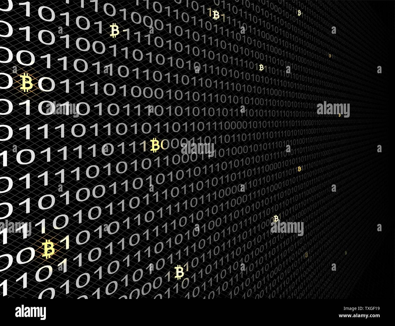 Bitcoin crypto currency search in binary code, vector - Stock Vector