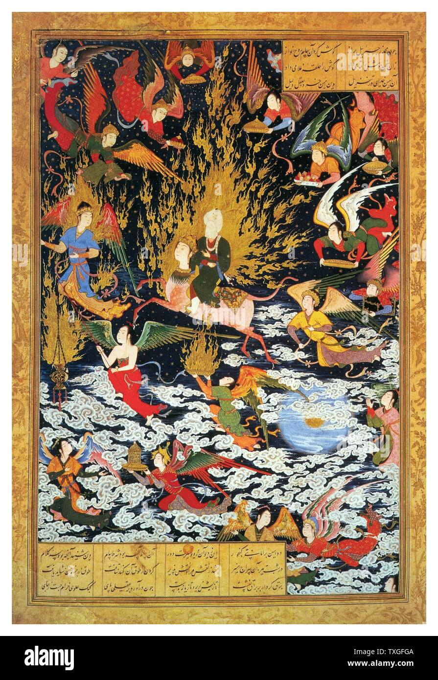 The ascent of Muhammad to heaven from Khamseh of Nizami. ascribed to Sultan Muhammad. dated from 1539-43. watercolour and ink on paper - Stock Image