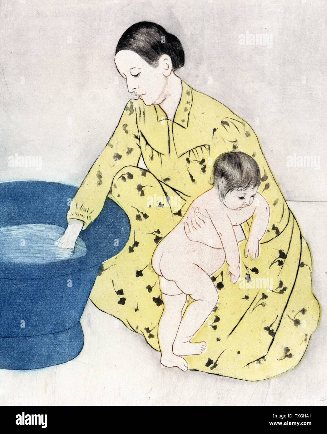 The bath, 1891 by Mary Cassatt 1844-1926, American artist. colour dry point, soft ground etching, and aquatint showing a woman holding a child while checking the temperature of water in a small bathing tub. Stock Photo