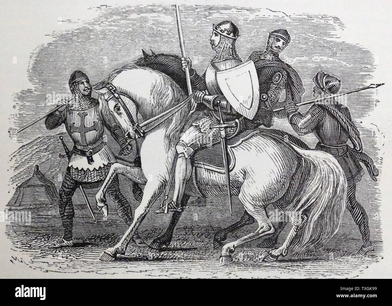Engraving depicting a 14th Century knight during the Hundred Years' War. Dated 14th Century - Stock Image