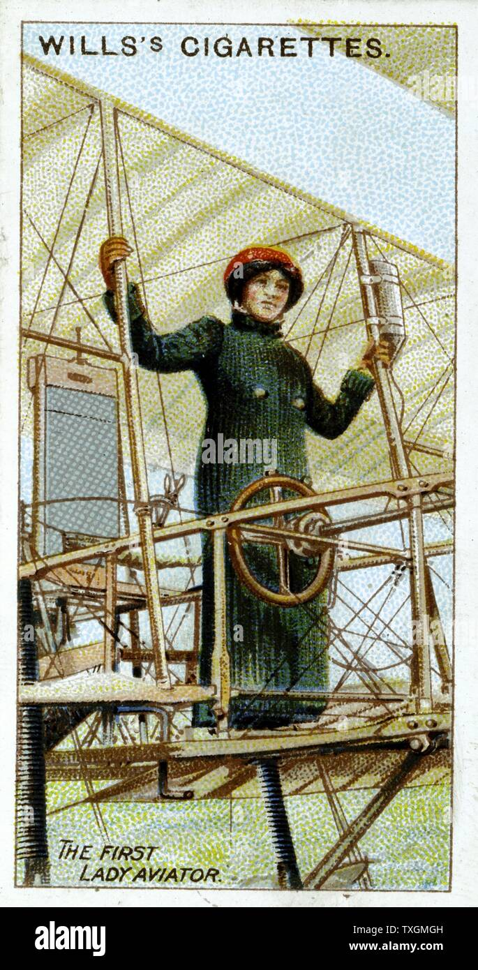 Delaroche, Baroness Raymonde,  first woman to hold pilot's licence. On 3 Nov. 1909 flew Voisin biplane 1,000 yards From set of cards on aviation published 1910 Chromolithograph. Colour Stock Photo