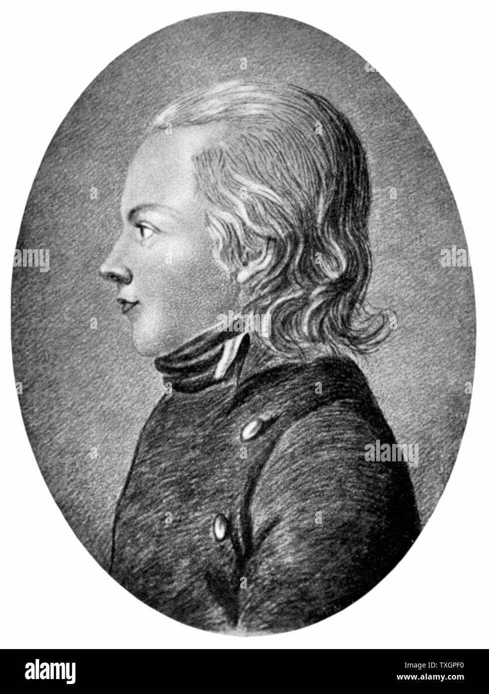 Novalis (pseudonymn of Friedrich von Hardenberg 1772-1801) German Romantic poet and novelist. 'Prophet of Romanticism'. Engraving - Stock Image