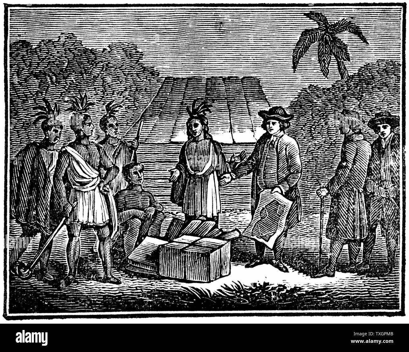 William Penn (1644-1718) English Quaker colonist, treating with Native Americans on site of what is now Philadelphia.  1830 Wood engraving Stock Photo