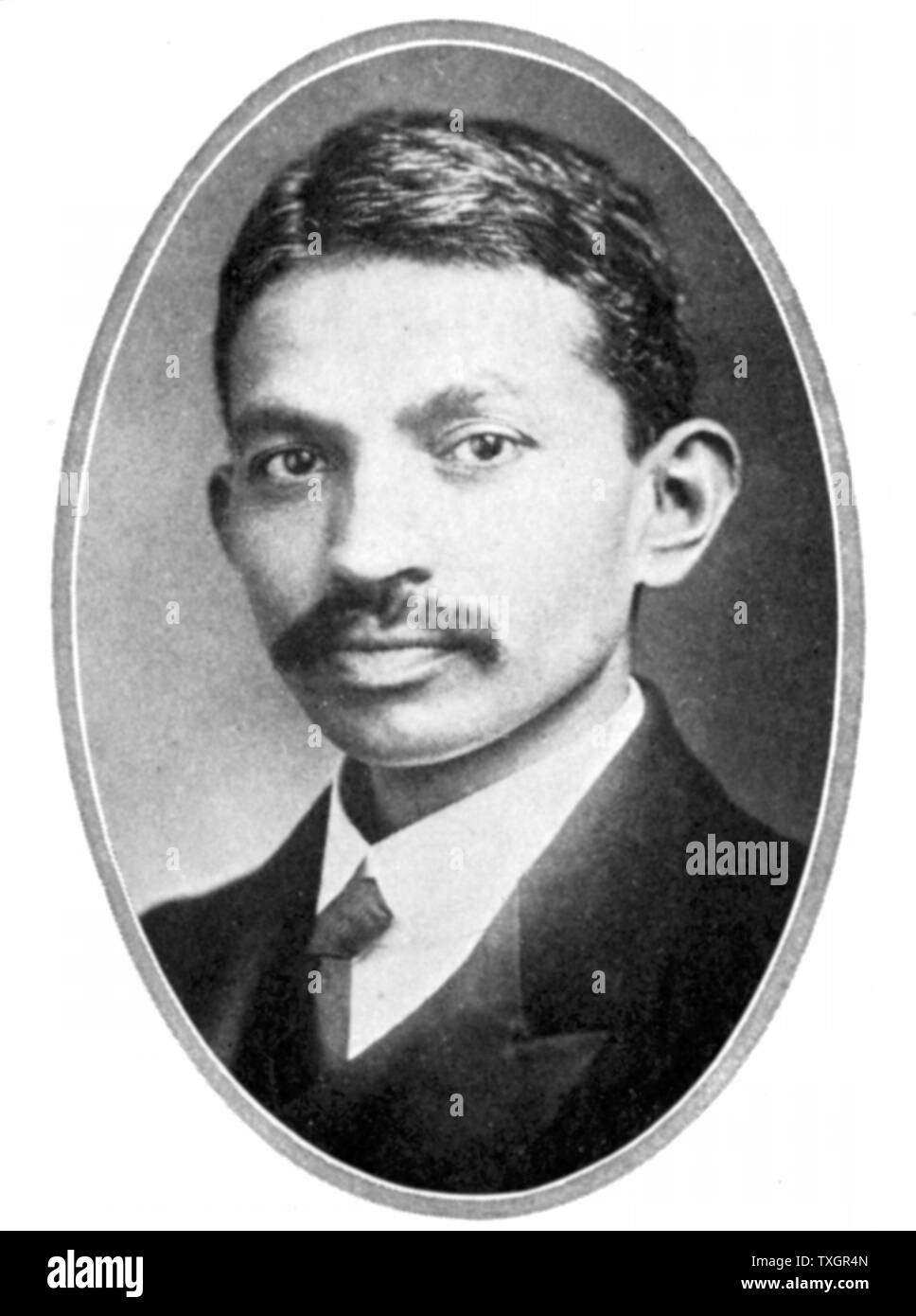 Mohondas Karamchand Gandhi  (1869-1948), known as Mahatma (Great Soul), as a young man. Indian Nationalist leader and organiser of the non-cooperative movement against British rule in India - Stock Image