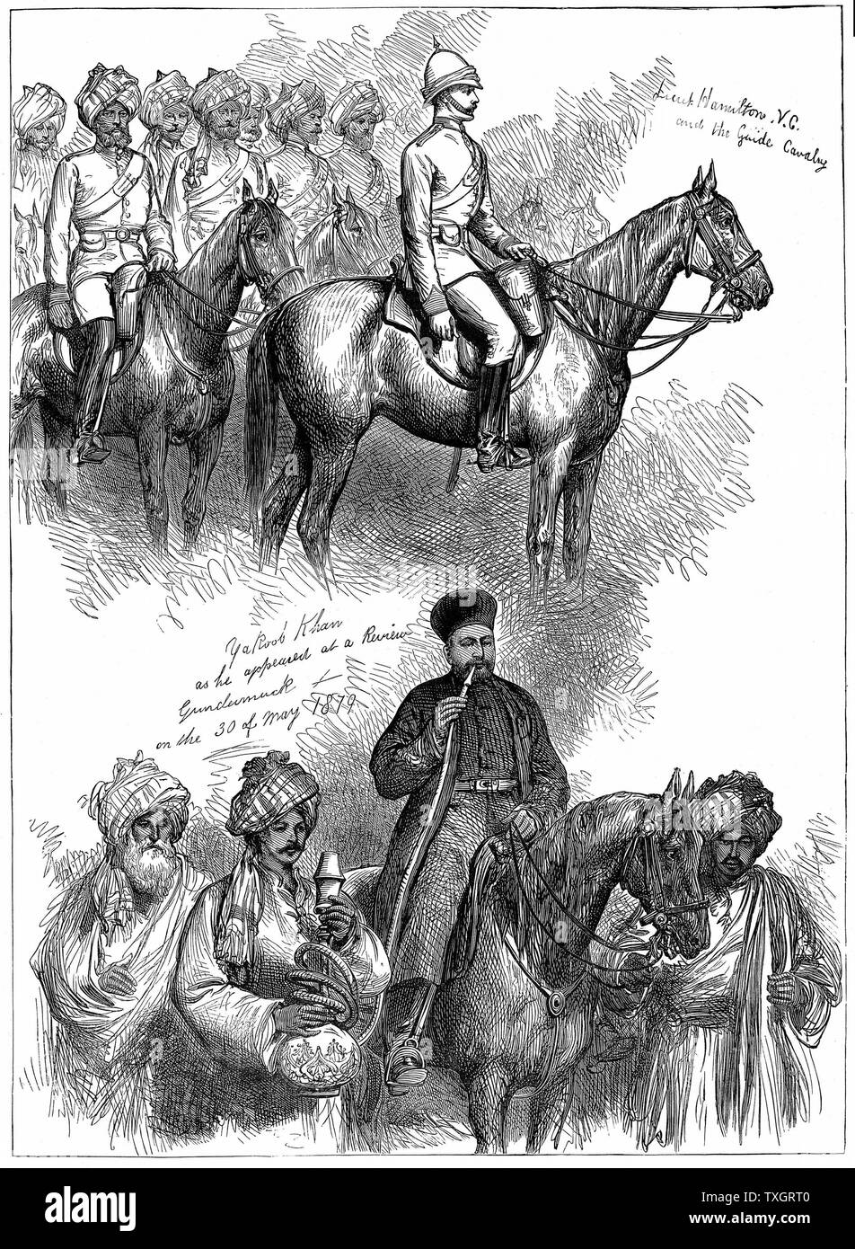 Second Anglo-Afghan War (1878-1880): Yakub (Yakoob) Khan, ruler of Afghanistan, at a review at Gundamuck, 30 May 1879, after signing of Treaty of Gundamuck on 26 May. At top, Lieut Hamilton rides at the head of a native regiment of Guides.  1879 Wood engraving - Stock Image