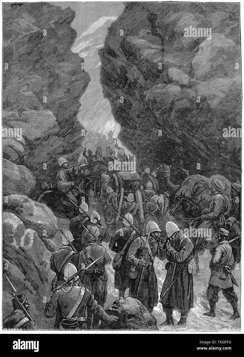 Second Anglo-Afghan War (1878-1880): A block in the Jugdulluk Pass: British troops having difficulties on their way to reinforce General Roberts at Cabul (Kabul). December 1879 January 1880    Wood engraving - Stock Image
