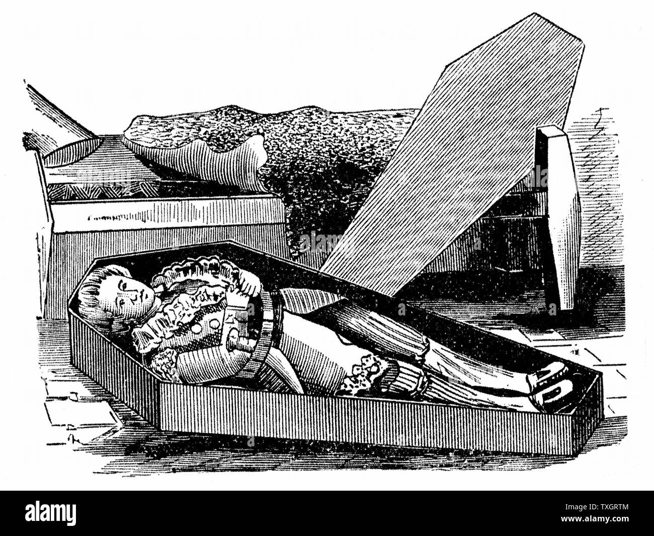 Daniel Boone (1735-1820) American pioneer and Indian fighter Woodcut purporting to show him trying out his coffin for size Stock Photo