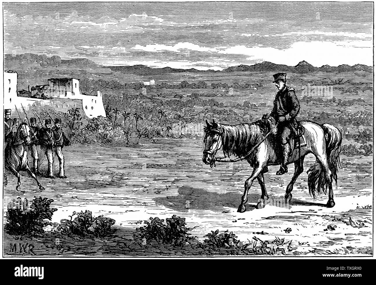 First Anglo-Afghan War (1838-1842): Dr Brydon,  only survivor of the 4,500 British soldiers and 12,000 camp-followers who left Cabul (Kabul) on 6 January 1842 to escape, arriving at Jaalabad with news of the disaster, 13 January  c.1890 Wood engraving Stock Photo