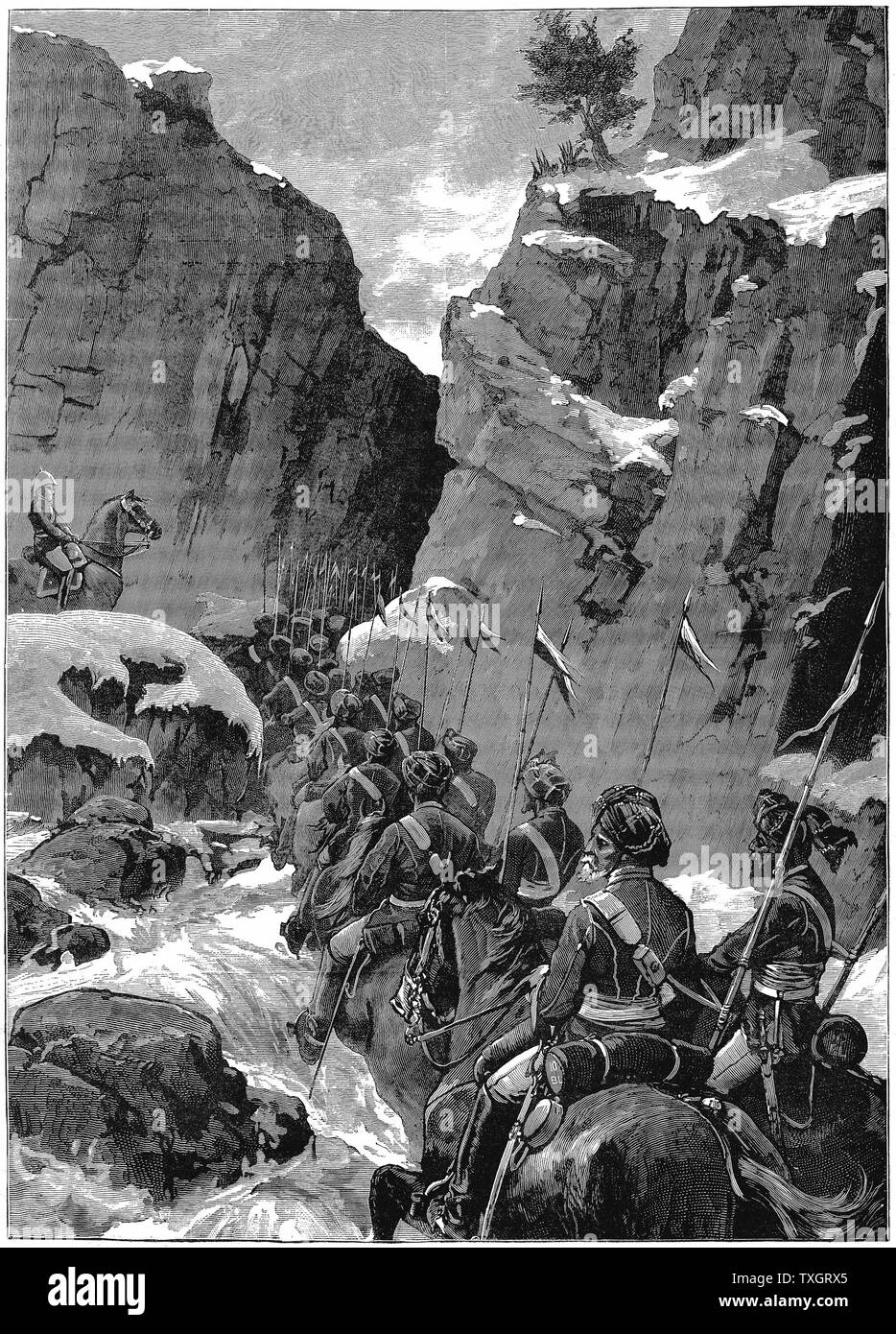 Second Anglo-Afghan War (1878-1880) 10th Bengal Lancers negotiating the Jugdulluk Pass supervised by a British officer December 1879 Wood engraving Stock Photo