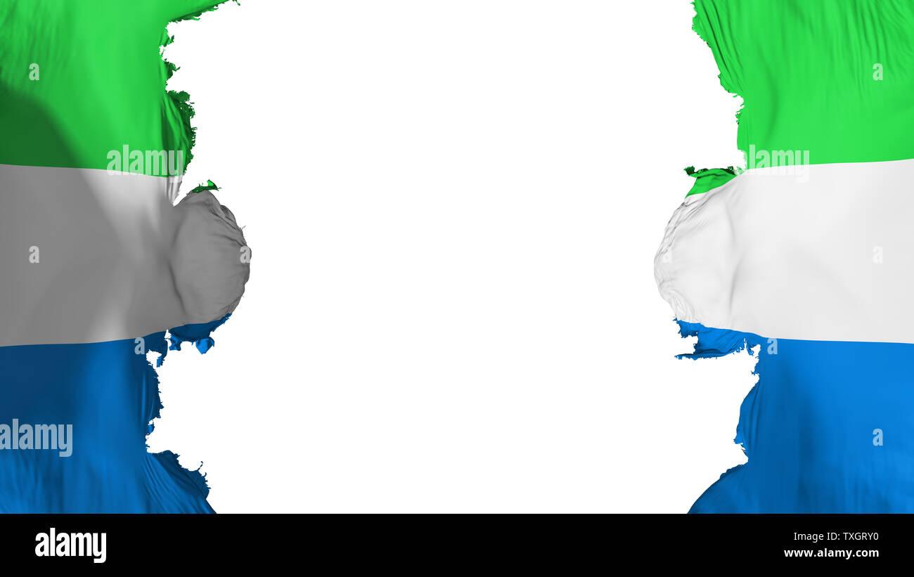 Blasted Sierra Leone flag - Stock Image